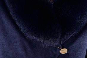 Женское темно-синее зимнее пальто с мехом арт. Бьорк зима песец 4309, фото 3