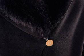 Женское черное зимнее пальто с мехом арт. Бьорк зима песец 4311, фото 3