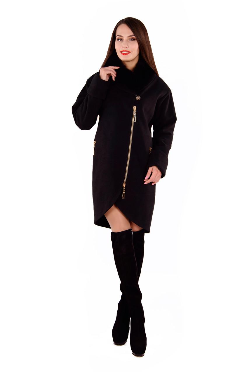 Женское черное зимнее пальто с мехом арт. Бьорк зима песец 4311