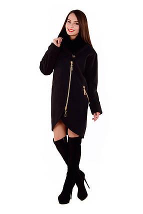 Женское черное зимнее пальто с мехом арт. Бьорк зима песец 4311, фото 2