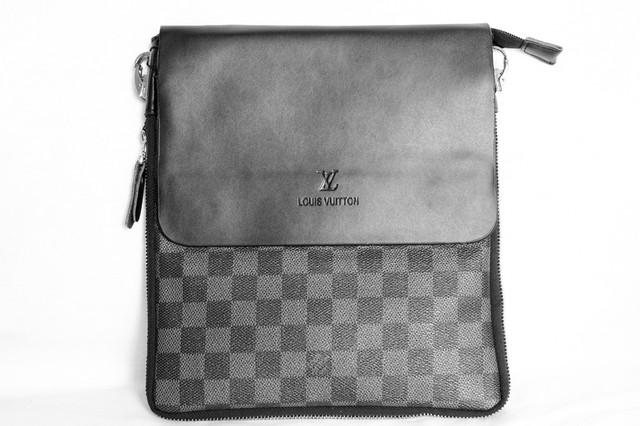 9a7e10bc0ff1 Мужская сумка Louis Vuitton, черная с серым Луи Виттон  продажа ...