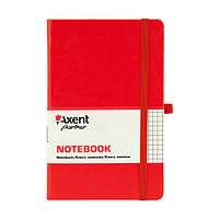 Блокнот на резинке А5 Axent Partner Lux 8202 (96 листов) кремовая бумага, обложка твердая, красный