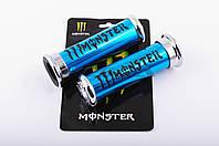 """Ручки руля на мототехнику   """"XJB""""   (MONSTER ENERGY, алюминиевые, синие)"""