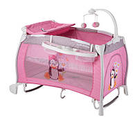 Манеж-кровать Bertoni (Lorelli) I`Lounge 2l Rocker pink pinguin