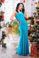 Шикарное бирюзовое  вечернее платье Клеопатра 42-50 размеры