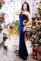 Шикарное темно-синее вечернее платье Клеопатра 42-50 размеры