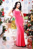 Шикарное коралловое вечернее платье Клеопатра 42-50 размеры
