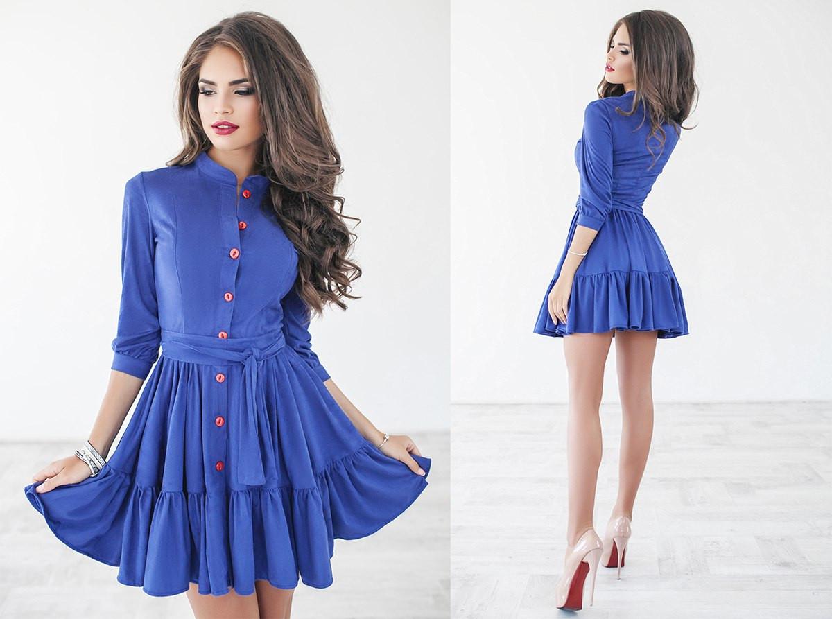 Замшевое платье на пуговицах - All You Need - прямой поставщик женской  одежды оптом и в 8b9e7589793
