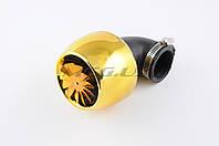 """Фильтр воздушный (нулевик)  на мототехнику   Ø42mm, 90*, """"турбина с пропеллером"""" (золото)"""