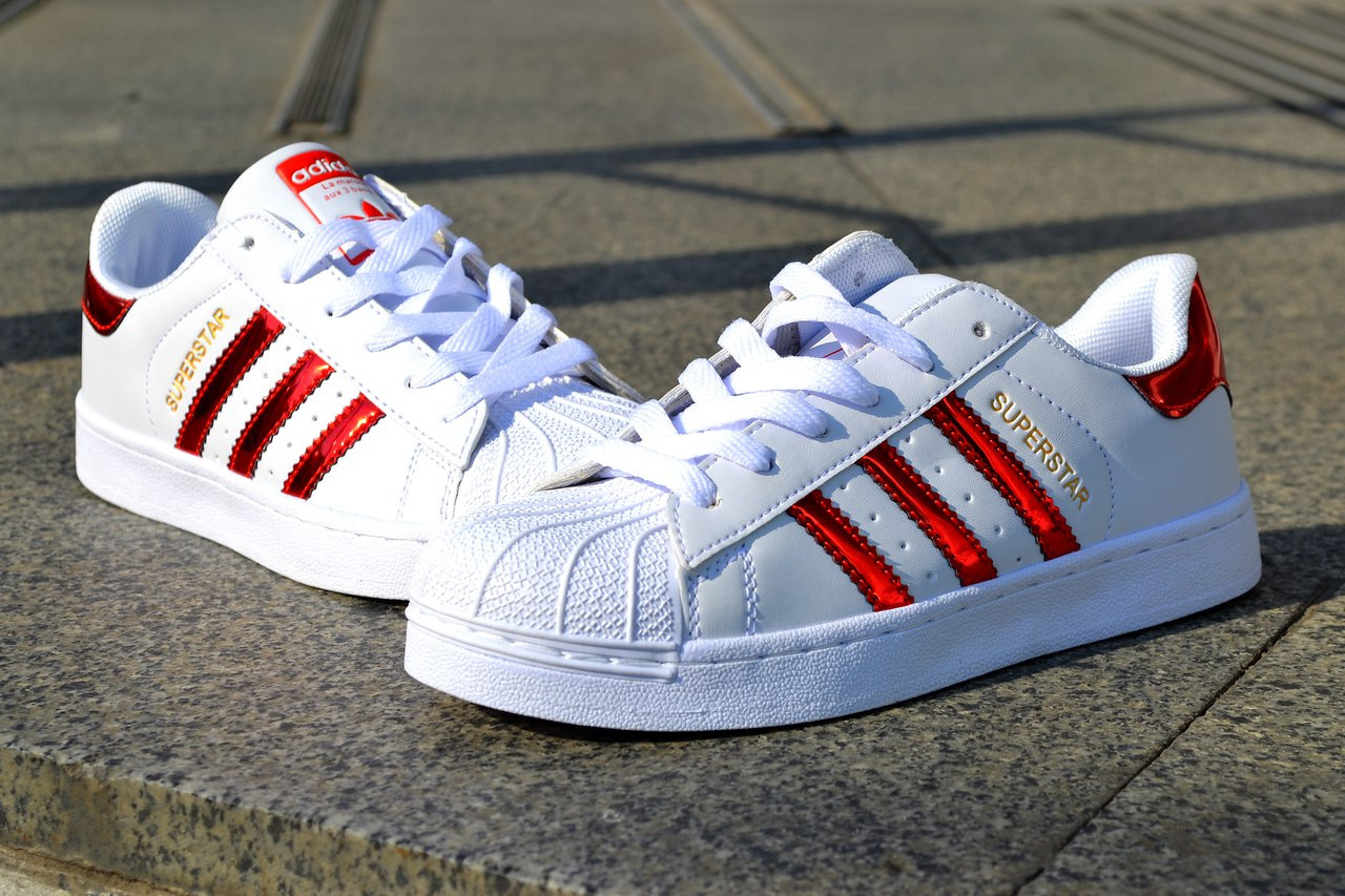 Кроссовки Adidas Superstar, белые  женские