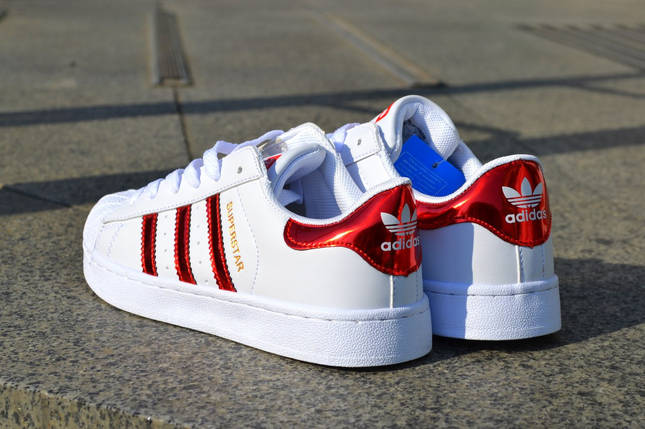 Кроссовки Adidas Superstar, белые  женские, фото 2