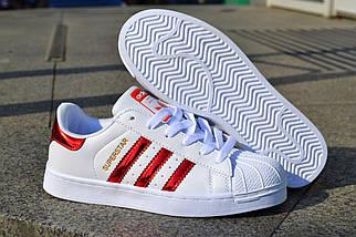 Кроссовки Adidas Superstar, белые  женские, фото 3