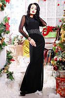 Длинное черное вечернее платье в пол Снежана 42-50 размеры