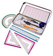 Готовальни MAX (9 предметов) чертежный набор в металлическом футляре