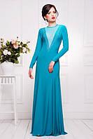 Длинное бирюзовое вечернее платье в пол Аркадия 42-50 размеры