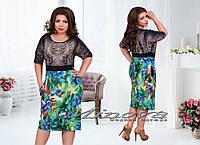 """Стильное платье для пышных дам """" Лео цветы """" Dress Code, фото 1"""