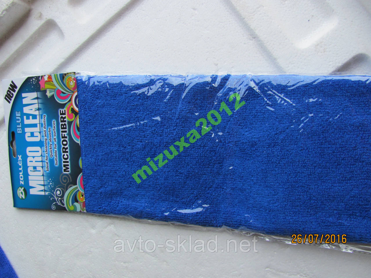 Микрофибра синяя Zollex салфетка автомобильная