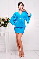 Короткое голубое  платье-туника Шик 42-50 размеры