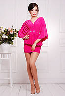 Короткое малиновое  платье-туника Шик 42-50 размеры
