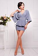 Короткое серое платье-туника Шик  42-50 размеры
