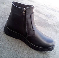 Мужские кожаные зимние ботинки на змейке