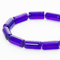 """Бусины """"Битое Стекло"""" Цилиндр, Цвет: Фиолетовый A3, Размер: 12х6мм, Отверстие 1.5мм, около 48шт/нить, (УТ0027342)"""