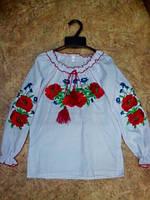 Вышиванка для девочки,Роза,рубашечная ткань.роз-110см на3-4год.