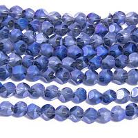 Бусины Стекло с Гальваникой, Граненые, радужные, морозный стиль, Круглые, Цвет: Синий, Размер: Диаметр 4.5мм, Отв. 1мм, около 100шт/нить, (УТ0031330)