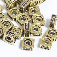 Бусины-Разделители Металлические, Квадратные, Цвет: Античное Золото, Размер: 5х5х2мм, Отв-тие 2мм, (БА000001600)