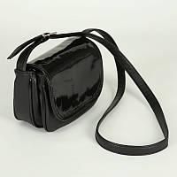 Сумка - клатч женская модельная мягкая с ремнём (Украина), цвет чёрный глянец