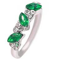 Кольцо Австралийский кристалл зеленый камень/ бижутерия/ размер 17/ цвет серебро