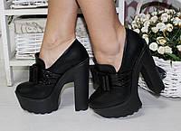 Женские туфли на тракторной подошве с бантом