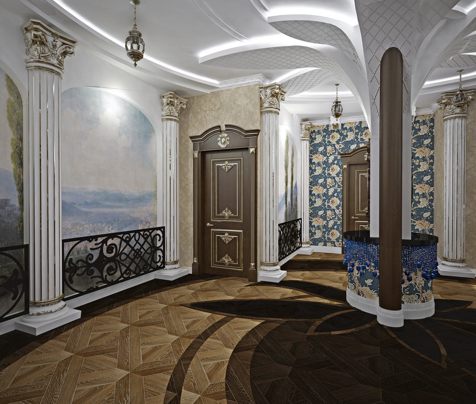 Холл с Архитектурными Полуколонами . ДИЗАЙН ГОСТИНИЧНОГО БИЗНЕСА . СТРОИТЕЛЬСТВО