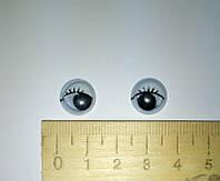 """Глазки для игрушек """"бегающие с ресничками"""", №12."""