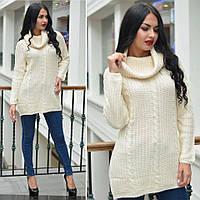 Женский вязаный свитер воротник хомут