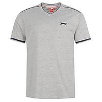 Однотонная мужская футболка Slazenger Grey V котон