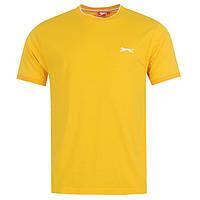 Однотонная мужская футболка Slazenger Yellow котон