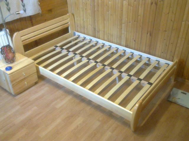 """Кровать деревянная """"Стелла"""" покрыта гипоаллергенным масловоском+матрас Траст + тумбочка классика 1"""