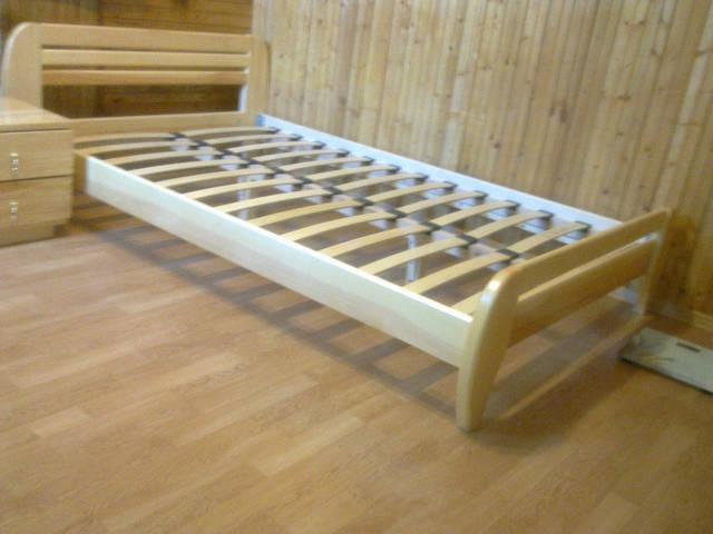 """Кровать деревянная """"Стелла"""" покрыта гипоаллергенным масловоском+матрас Траст + тумбочка классика 2"""