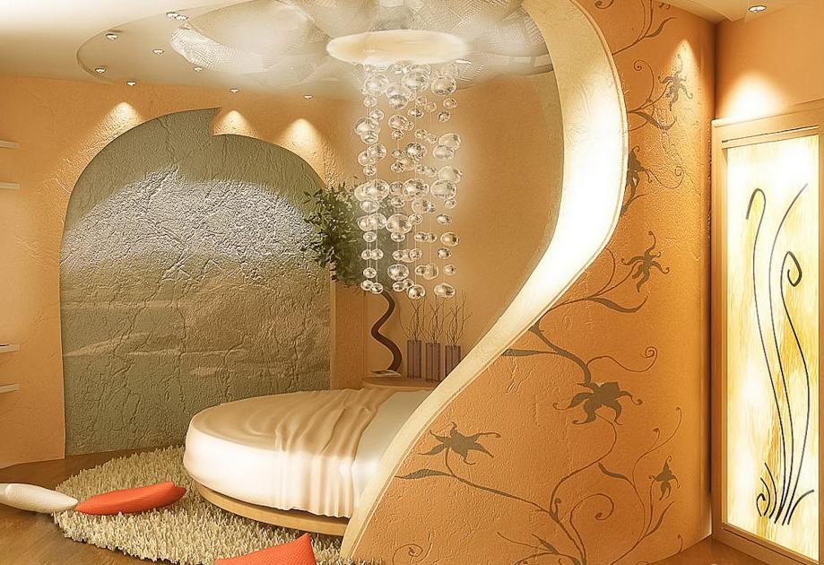 Комната с Гипсовой Декоративной Стеной .  ДИЗАЙН ГОСТИНИЧНОГО БИЗНЕСА. СТРОИТЕЛЬСТВО
