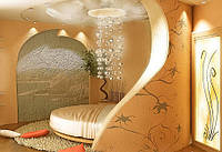 Комната с гипсовой декоративной стеной № 67