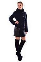 Женское синее зимнее кашемировое пальто арт. Акра зима песец Турция 4377
