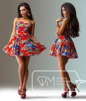 """Стильное молодежное платье мини """" Цветы пиксель """" Dress Code"""