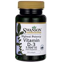 Витамин Д, холекальциферол, D3 vitamin, Swanson, 5000 мкг, 250 капсул