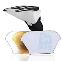 Универсальный рассеиватель-отражатель для вспышек Canon, Nikon, Nissin, Sigma, Sony и др., 3 цвета.