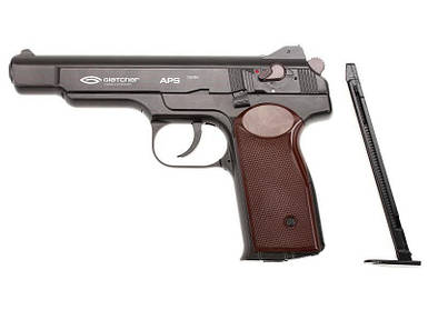 Пистолет Gletcher APS NBB, пневматический, 18-ти зарядный. Автоматический Пистолет Стечкина, копия
