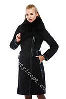 Женская дубленка черного цвета с натуральным мехом тосканы евродлина