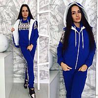 Женский спортивный костюм тройка турецкая трехнитка с начесом теплый цвет синий