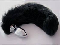 Анальная пробка с хвостиком, черная кошечка