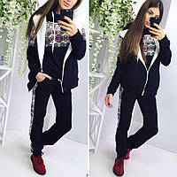 Женский спортивный костюм тройка турецкая трехнитка с начесом теплый до 56 размера цвет черный, фото 1
